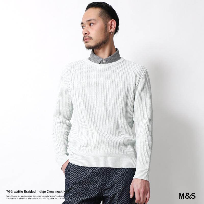 【SALE】【M&S/エムアンドエス】7GGワッフル編みインディゴクルーネックニット◆6938