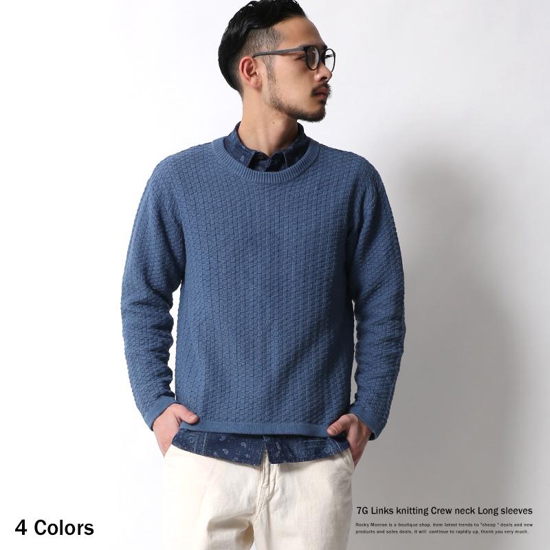 【SALE】7Gリンクス編みクルーニットセーター◆6965