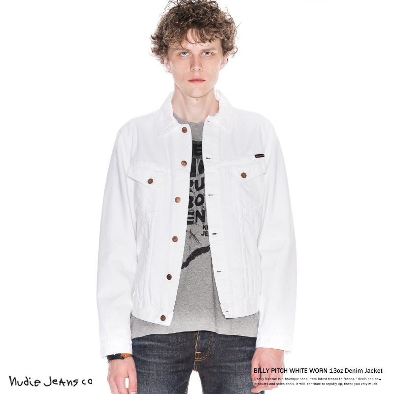 【Nudie Jeans/ヌーディージーンズ】Billy PITCH WHITE WORN 13ozホワイトデニムジャケット◆7062