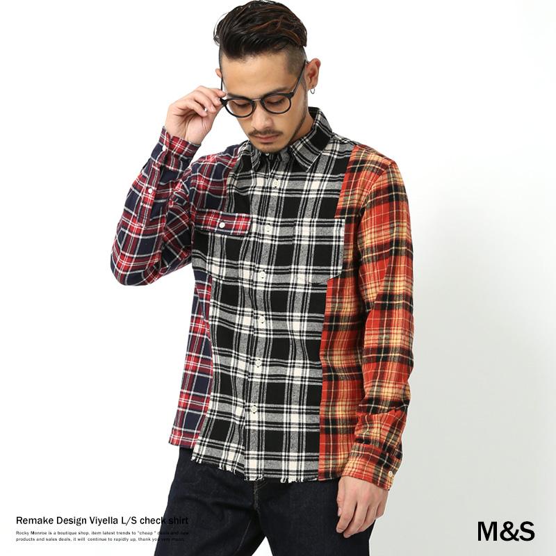 【M&S/エムアンドエス】リメイクビエラチェックシャツ◆7698