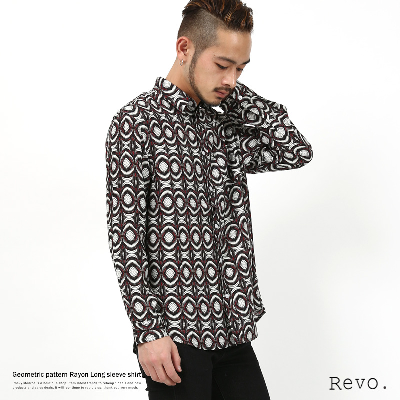 【Revo./レヴォ】幾何学柄レーヨンシャツ◆7905