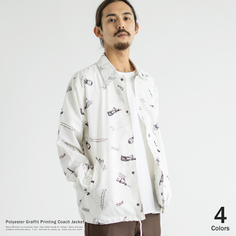 ポリトログラフィティプリントコーチジャケット◆8697