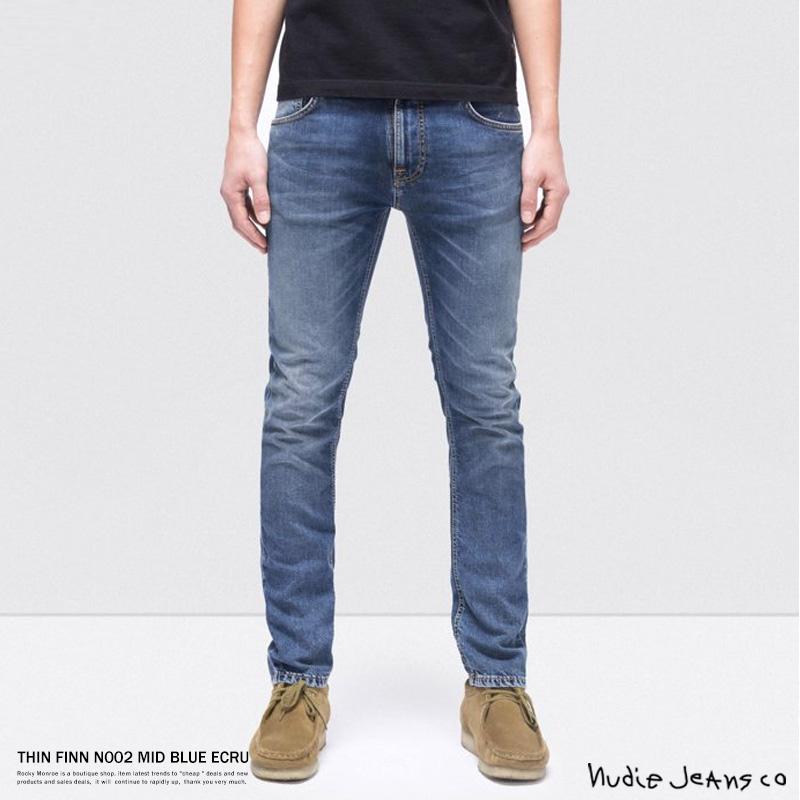 【送料無料】【Nudie Jeans/ヌーディージーンズ】THIN FINN N002 MID BLUE ECRU◆8764