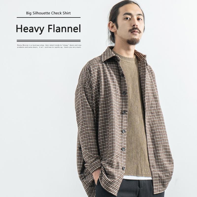 ヘビーネルビッグシルエットチェックシャツ◆9099