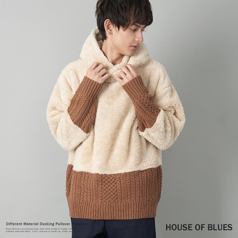 【HOUSE OF BLUES/ハウスオブブルース】異素材ドッキングプルオーバーパーカー◆9213