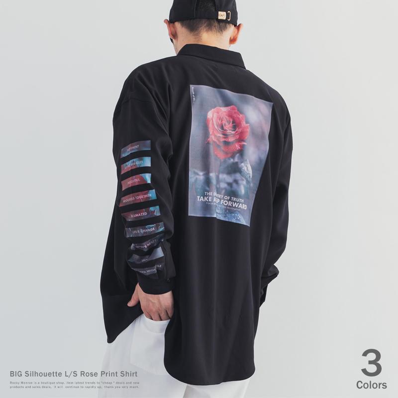 薔薇プリントBIG L/S シャツ◆9672