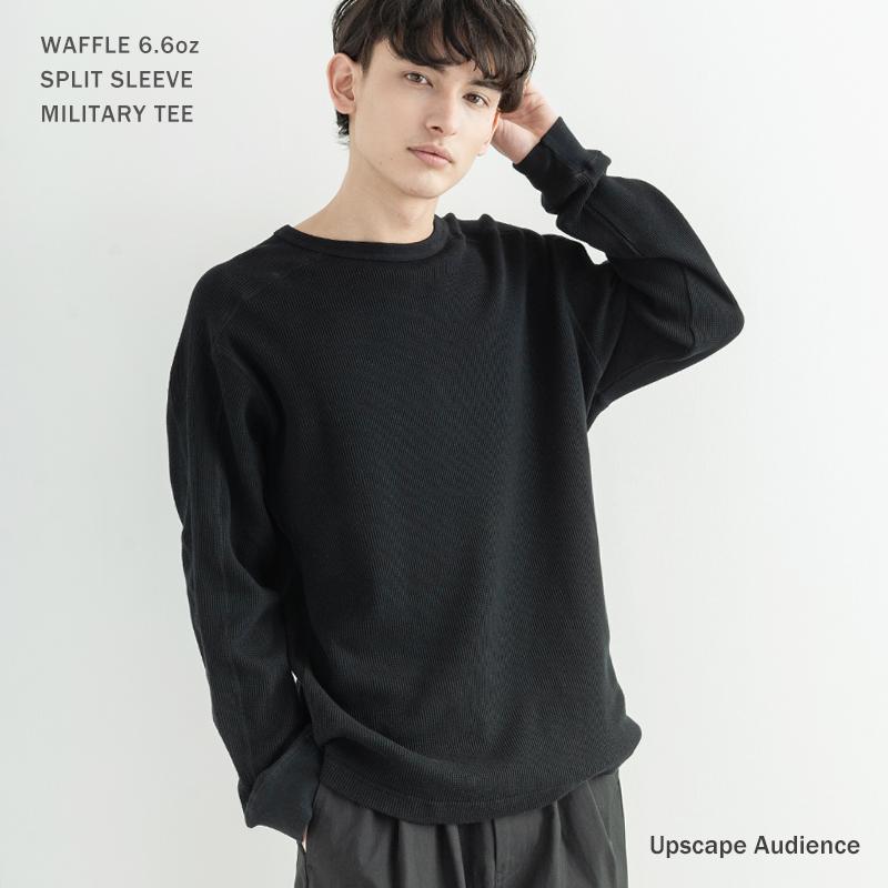 【Upscape Audience/アップスケープオーディエンス】日本製/国産度詰めワッフル 6.6oz スプリットスリーブミリタリー長袖T◆9923