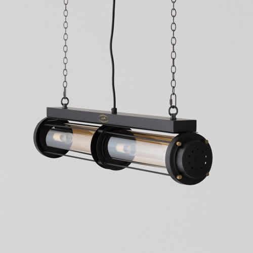 ブラックフレームにアンバーシェード、真鍮パーツを組み合わせた、スタイリッシュな照明