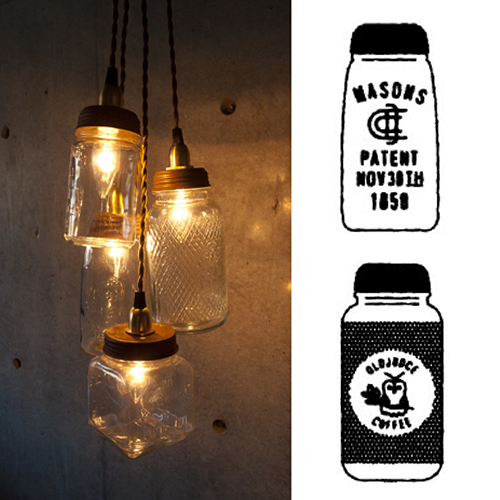 ヴィンテージのボトルを型に作られたガラス瓶シェードのペンダントランプ。