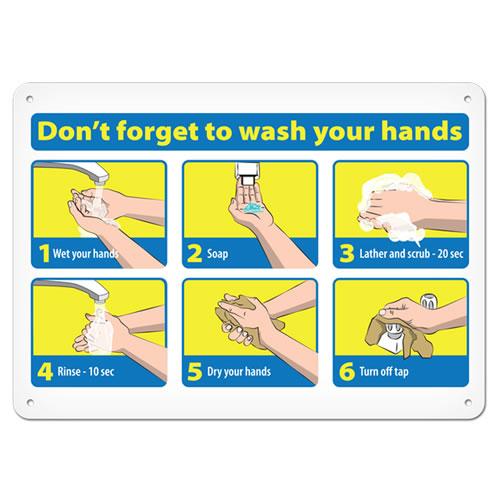 手洗いの注意喚起、洗い方の樹脂製サイン。