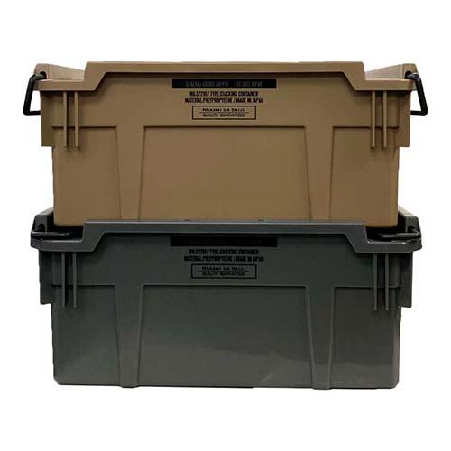 工業部品の大量輸送などに使用されているスタッキング式のコンテナボックスです
