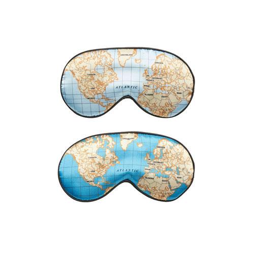 世界地図モチーフのスリープマスク。