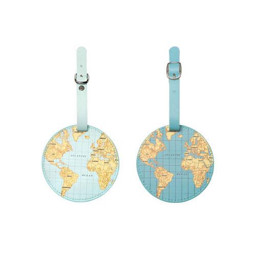 世界地図モチーフのラゲッジタグ。