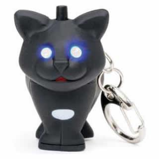 【NOISEY KEY LIGHT CAT】ボタンを押すと目が光り、ニャーと鳴く浪速の子猫キーホルダー