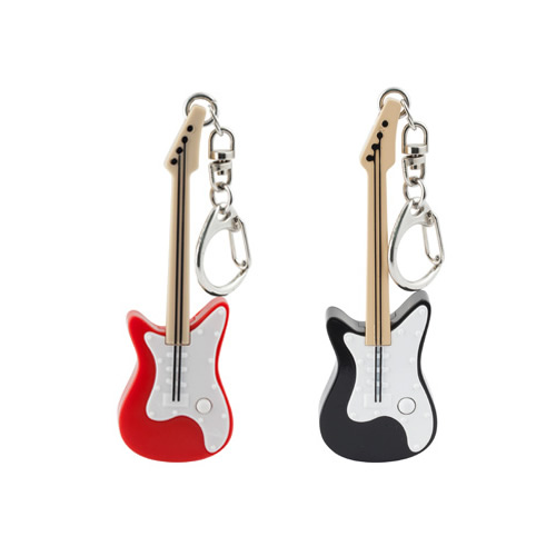 ボタンを押すとマルチカラーLEDが光ってギターリフ音が鳴るキーリング。