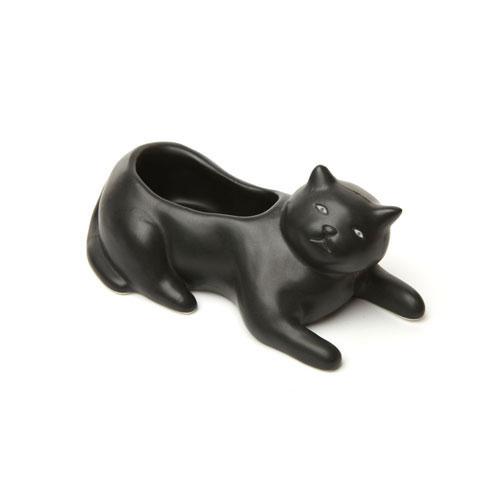 黒ネコデザインの磁器製プランター。