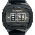 車のアナログ距離メーターのようにローラーを縦に回転させることによって時刻を表示することができるクオーツ時計