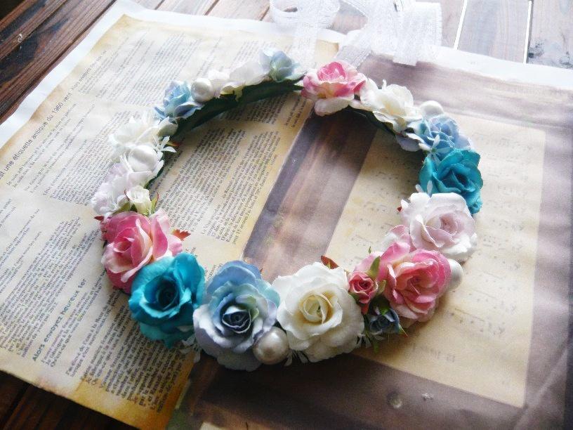 ドレス 花かんむり高級造花 薔薇 カラフル ミックスカラー シルクフラワー 【hana23】【ROMANTIC】【ロマンティック】