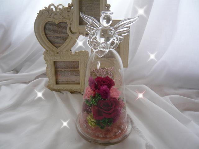 プリザーブド エンジェルガラスドーム クリアケース付き【pu02】【ROMANTIC】【ロマンティック】