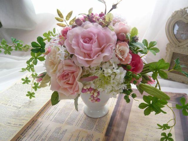 お祝いプレゼント 高級造花アレンジ 光触媒 四方見アレンジ【AR0020】【ROMANTIC】【ロマンティック】