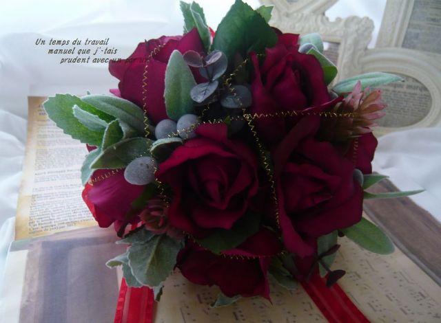 ミニブーケ ワイン&ゴールド 光触媒 高級造花 シルクフラワー【minibu04】【ROMANTIC】【ロマンティック】