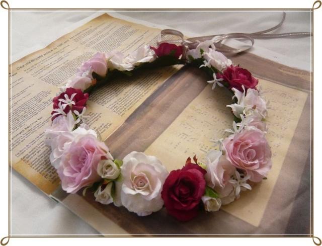 ドレス 花かんむり 高級造花 ピンクローズ ブーケとおそろい【hana011】【ROMANTIC】【ロマンティック】