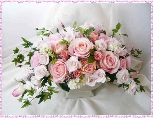 お祝い 高級造花&プリザーブド 薔薇アレンジ BIGサイズ 光触媒【ar020】【ROMANTIC】【ロマンティック】