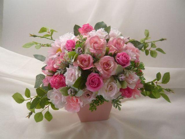 高級造花アレンジ 結婚プレゼント 造花通販 アーティフィシャルフラワー ピンクシルクフラワー【ar114】【ROMANTIC】【ロマンティック】