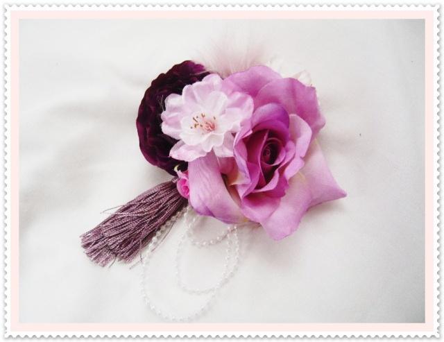 成人式ヘアスタイル 髪飾り 高級造花 桜 薔薇 紫 着物 振袖【ka13】【ROMANTIC】【ロマンティック】
