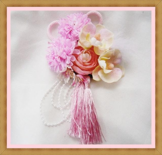 成人式ヘアスタイル 髪飾り 高級造花 桜 胡蝶蘭ピンク 着物 振袖【ka11】【ROMANTIC】【ロマンティック】