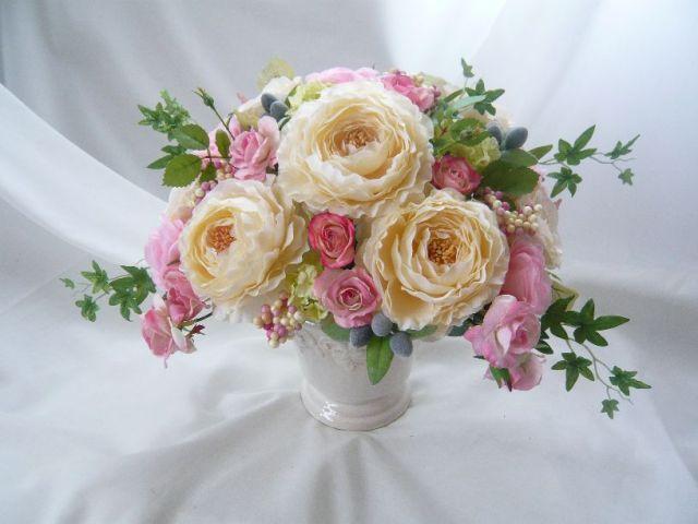 高級造花アレンジ クリームイエローアレンジ 母 誕生日プレゼント 造花通販 アーティフィシャルフラワー シルクフラワー【ar120】【ROMANTIC】【ロマンティック】