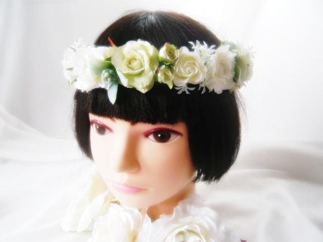 ドレス 花かんむり 高級造花 白薔薇 シルクフラワー アートフラワー アーティシャルフラワー ドレス【hana17】【ROMANTIC】【ロマンティック】