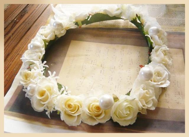ドレス花冠 プリザーブド 高級造花 アーティフィシャルフラワー 【hana111】【ROMANTIC】【ロマンティック】