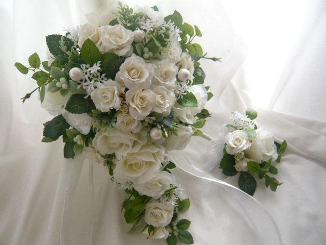 白薔薇ブーケ ナチュラル 高級造花  ブーケBOX付き アーティフィシャルフラワー 造花通販 ウエディングブーケ【b11】【ROMANTIC】【ロマンティック】
