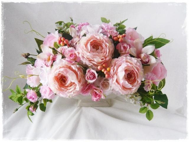 送料無料 カーネーション 母 プレゼント 蘭 高級造花アレンジ BIGサイズ シルクフラワー【ar131】【ROMANTIC】【ロマンティック】