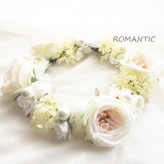 【花冠ふんわりホワイト】高級造花 美人綺麗花冠 ローズ ボリュームあり【ROMANTIC】【ロマンティック】