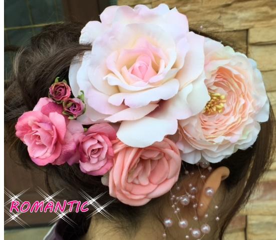 成人式髪飾り 大輪ピンク 8点豪華デラックスセット 髪飾り 着物 浴衣 高級造花 シルク バラ 袴 コサージュ 薔薇 入学式 成人式 振袖 帯飾り