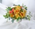 高級造花アレンジ 金運UP 黄色アレンジ 母 誕生日プレゼント 造花通販 アーティフィシャルフラワー【ar110】【ROMANTIC】【ロマンティック】