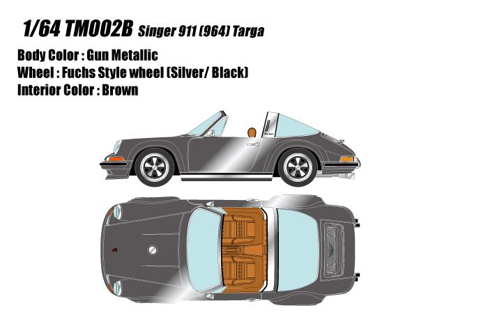 [予約] タイタン64 1/64 シンガー 911 (964) タルガ ガンメタリック TM002B