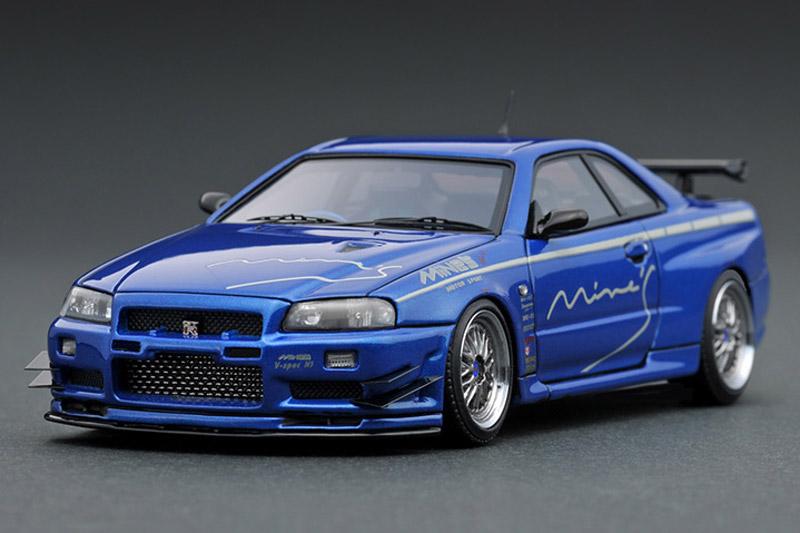[取り寄せ] イグニッションモデル 1/43 ニッサン スカイライン GT-R マインズ R34 ベイサイドブルー IG1814
