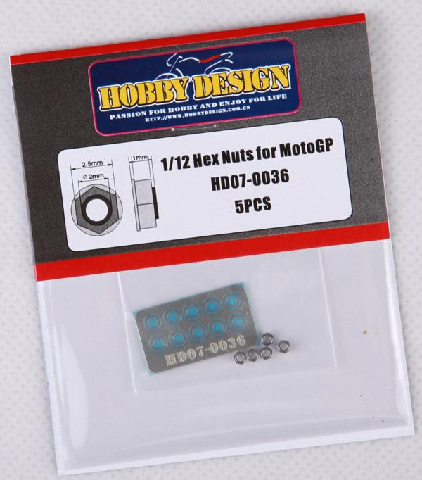 ホビーデザイン 1/12 6角 ナット モトGP用 5個入り HD07-0024