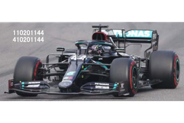 """[予約] ミニチャンプス 1/43 メルセデス AMG ペトロナス W11 EQパフォーマンス アイフェルGP 2020 L.ハミルトン """"91勝目"""" (ピットボード/ヘルメット付) 410201144"""