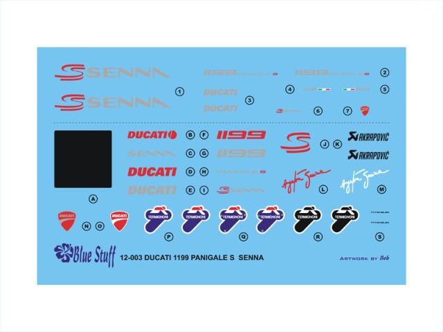 ブルースタップ 1/12 ドゥカティ 1999 パニガーレ S A.セナ フルスポンサーデカール タミヤ対応 12-003