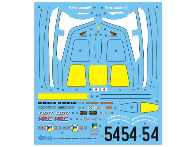 """ブルースタッフ 1/12 ホンダ NSR 500 """"モリワキ"""" 1986 フルスポンサーデカール (タミヤ対応) 12-012"""