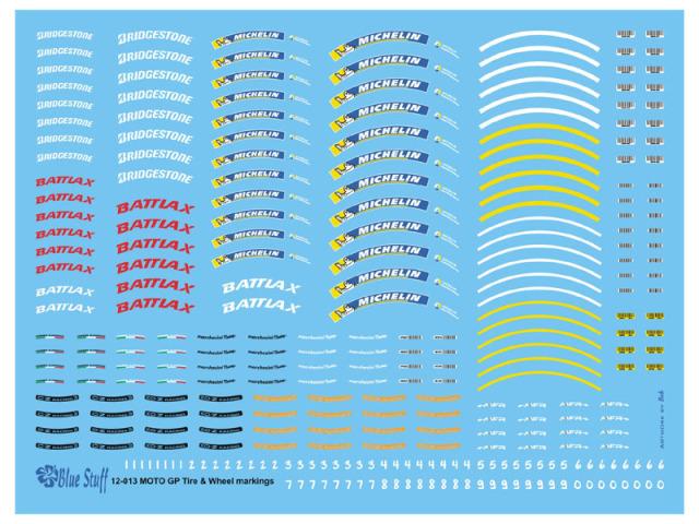 ブルースタップ 1/12 モトGP タイヤ&ホイール メーカーロゴデカール  ブリジストン バトラックス ミシュラン マルケージーニ OZ MFR 12-013