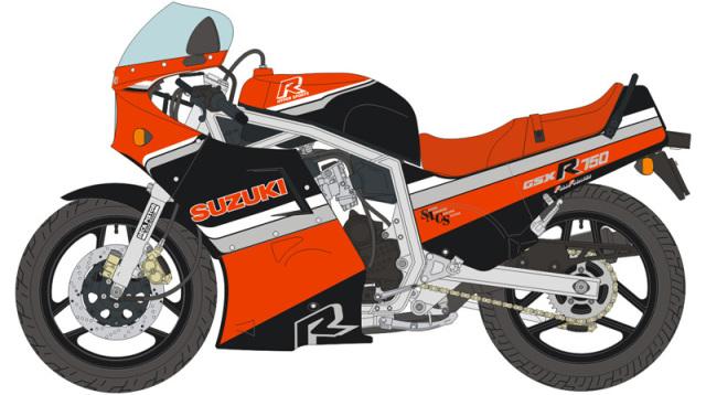 ブルースタッフ 1/12 デカール スズキ GSX R750 ブラック/レッド 1986  ハセガワ対応 12-023
