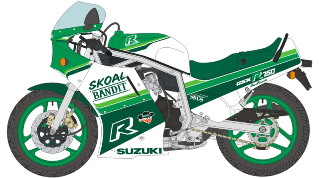 ブルースタッフ 1/12 デカール スズキ GSX R750 スコールバンディット 1986 デカール ハセガワ対応 12-025