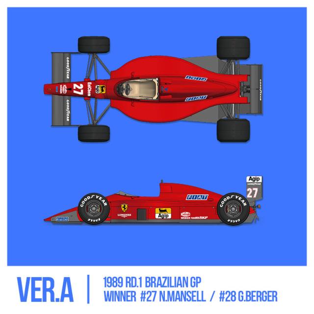 モデルファクトリーヒロ 1/43 フルディティールメタルキット フェラーリ F189 640 1989 Ver.A ブラジルGP N.マンセル ウィナー/G,ベルガー MFH-K783