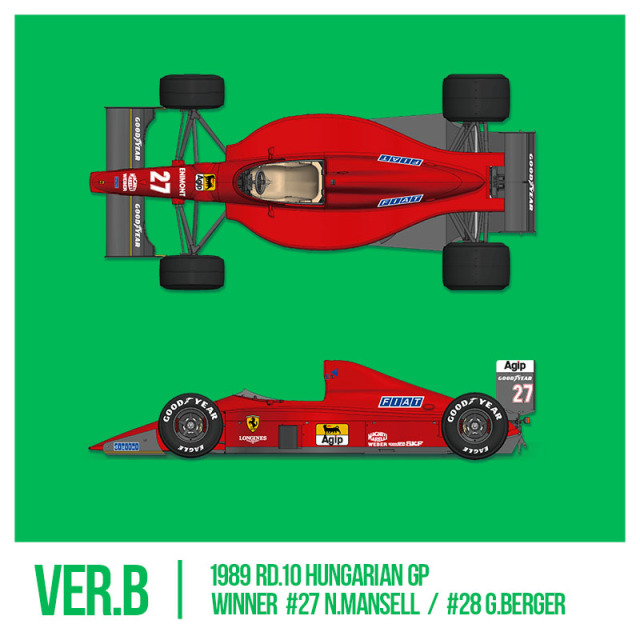 モデルファクトリーヒロ 1/43 フルディティールメタルキット フェラーリ F189 640 1989 Ver.B ハンガリーGP N.マンセル ウィナー/G,ベルガー MFH-K784