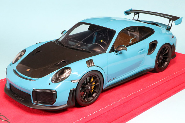 Buonarte特注スパーク 1/18 ポルシェ 911 GT2 RS マイアミブルー/カーボンボンネット 18WS001